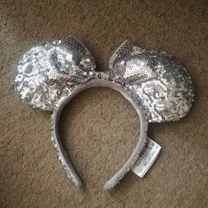 Silver Minnie Mouse ears